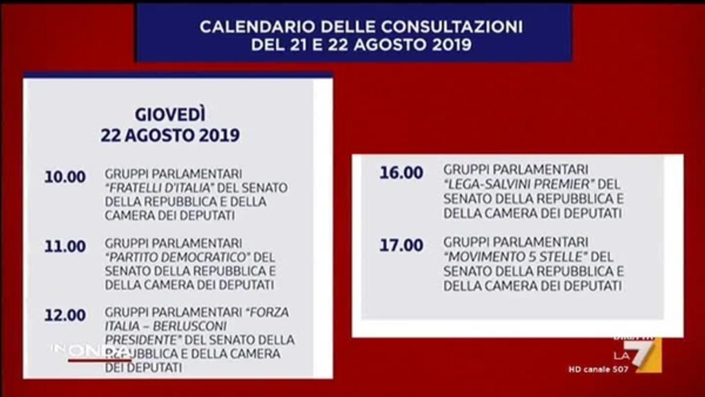 Agosto Calendario.Calendario Delle Consultazioni Del 21 E 22 Agosto 2019